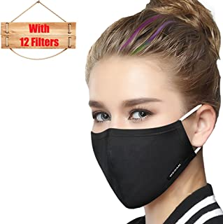 Mask Washable Reusable Cotton Mouth Masks Replaceable Filter (One Mask + 12 Filters) 4 Layer Activated Carbon Filter Insert Dust Mask Pollen Allergy, PM2.5, Running, Cycling, Outdoor Activities