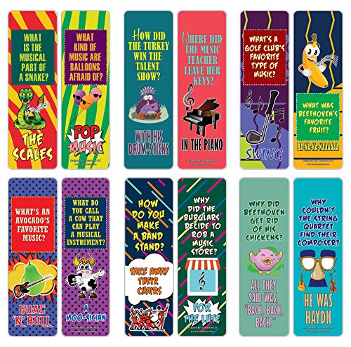 Creanoso Funny Music Puns Jokes Bookmarks (30-Pack) – Six Assorted Bulk Pack Book Page Clippers – Great Stocking Stuffers Gifts for Men, Women, Boys, Girls, Teens – Unique Token Giveaways