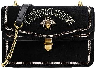 Samttasche mit Bienen-Motiv, kleine quadratische Tasche für Damen, Schultertasche, Umhängetasche, Mini-Tasche