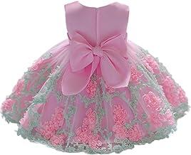 K-youth Vestido Niña Vestido de Encaje Sin Mangas Tutú Princesa Vestido Bebé Niña Verano Ropa Niña Vestido Bebe Niña Bautizo Boda Flores Fiesta Ceremonia Vestido de Princesa (Rosa, 0-6 Meses)