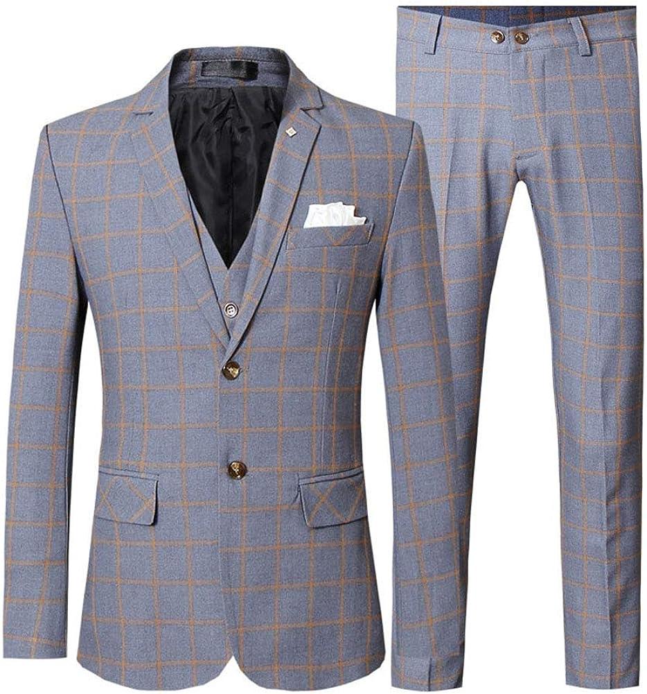 Men's Three-Piece Business Plaid Suit, Male Youth Professional Suit Suit, Wedding Formal Suit