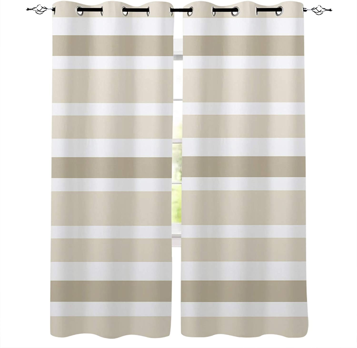 Blackout Curtain Fort Worth Mall Panels Beige Milwaukee Mall White Brown Stripes Insul Thermal