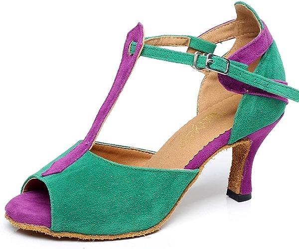 XIAOY T-Strap Chaussures de Danse Latine Femmes Daim Satin Poisson Bouche Milieu Haute Talon