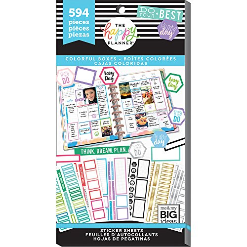 me & my BIG ideas Sticker Value Pack - The Happy Planner Scrapbooking Supplies - Colorful Boxes Theme - Multi-Color - Great for Projects & Albums - 30 Sheets, 594 Stickers Total