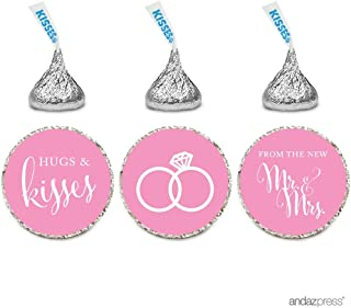 Andaz Press Chocolate Drop Labels Stickers, Wedding Hugs & Kisses from the New Mr. & Mrs., Pink, 216-Pack, For Bridal Shower Engagement Hershey's Kisses Party Favors Decor