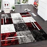 Paco Home Designer Teppich Modern mit Konturenschnitt Karo Muster Grau Schwarz Rot, Grösse:240x330...