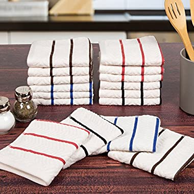 Lavish Home 100% Combed Cotton Dish Cloths Pack-Absorbent Chevron Weave with Color Accents-Kitchen Dishtowels, Cleaning/Drying by (16 Pack-Multi)