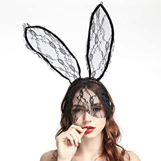 Catery Sexy Lace Bunny Ears Veil Headbands Black Cat Ear Headband Women Halloween Hair Accessories for Nightclubs & Masquerade & Halloween & Christmas