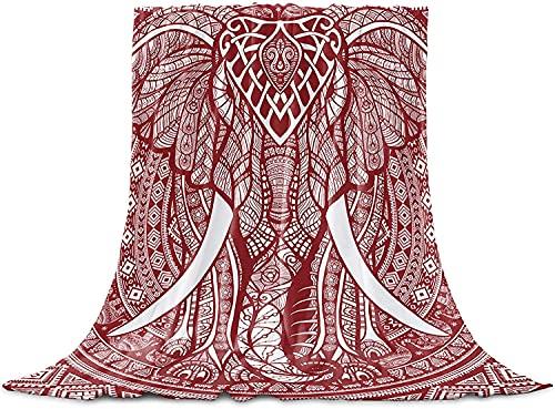 Rojo de Elefante Ética Tribus Tirar de la Manta de Franela Manta de Lana, Manta Liviana para Adultos Bebé de la Microfibra de la Siesta Manta para el Sofá, la Cama, el Sofá Corredor Manda,40'x50'