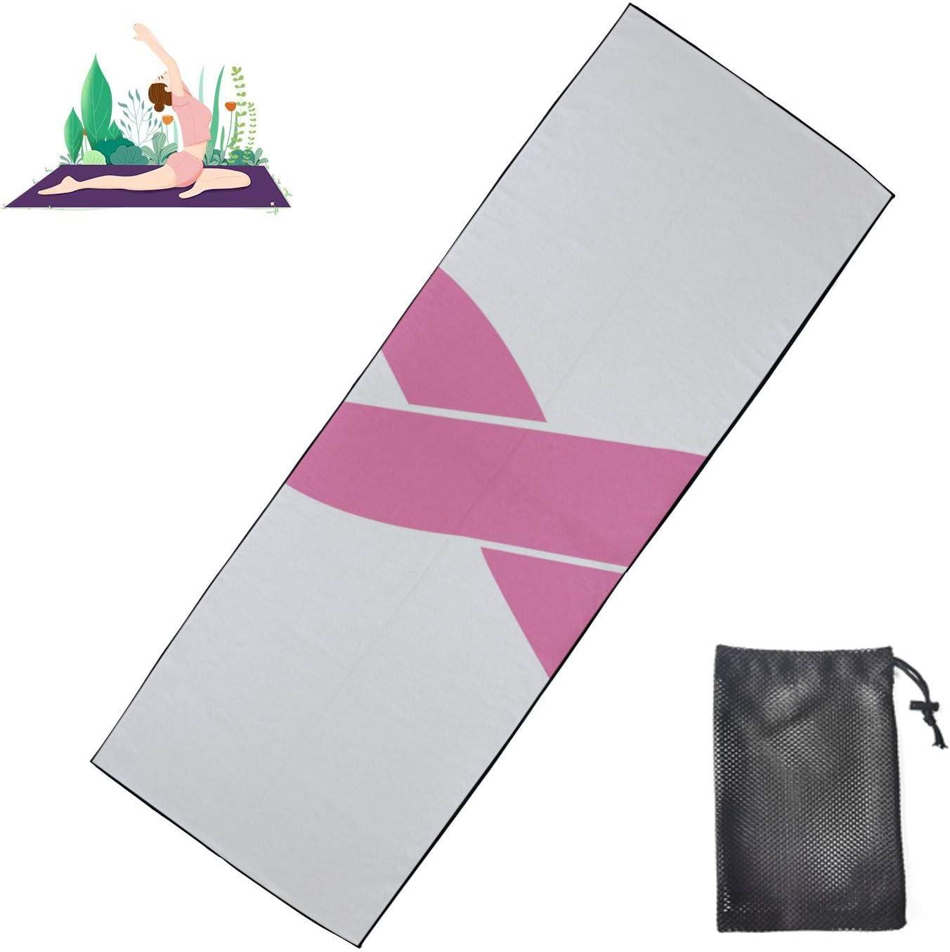 Zaqiwa Non Slip online shopping Hot Yoga Towel Regular discount Pink Ribb Breast Awareness Cancer