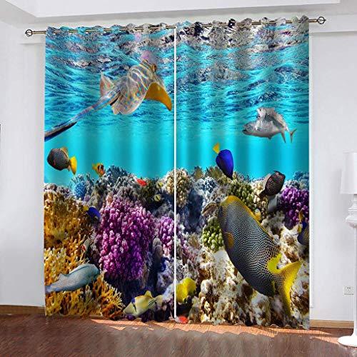 Tenda Oscuranti Termiche Isolanti con Occhielli - 100% Poliestere Tessuto, 2 x 140cm x 220cm (W x L) - Tema del Tendaggio 3D - Pesce di Mare - Adatto per Soggiorno e Camera da Letto