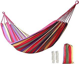 comprar comparacion KEREITH Al Aire Libre jardín Hamaca algodón Suave Camping Hamaca con Mochila, Mejor para Patio (Rojo/Amarillo,MAX Load 450...