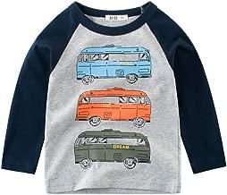 JanLEESi Little Boy Cartoon Sweatshirts Crewneck Tops Tees Cotton Long Sleeve T-Shirt