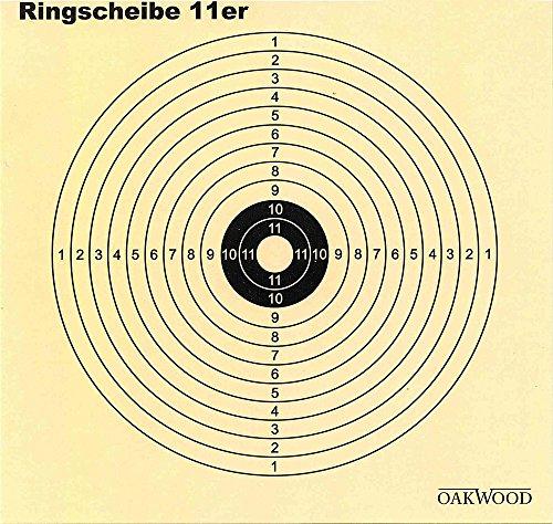 Oakwood Ziel- Ringscheiben 11er Kreis 14 x 14 cm 50 Stück für Luftgewehre
