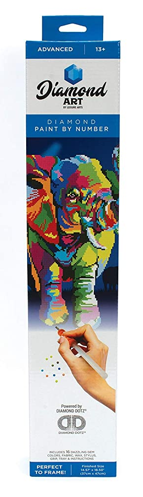 Leisure Arts - Diamond Art Sparkle Art Diamond Paint by Number Elephant Kit – 5D Pixel Painting DIY Arts and Crafts for Kids Canvas Wall Decor