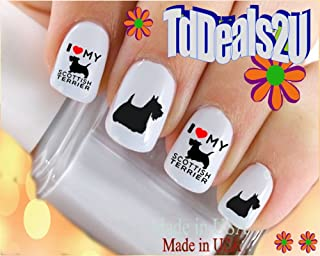 Dog Breed - Scottish Terrier I Love Nail Decals - WaterSlide Nail Art Decals - Highest Quality! Made in USA
