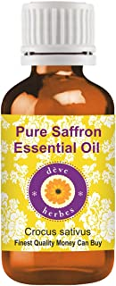 Deve Herbes Pure Saffron Essential Oil (Crocus sativus) Therapeutic Grade Steam Distilled 5ml