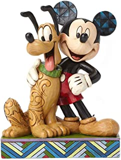 """Disney Traditions by Jim Shore Mickey Mouse and Pluto Stone Resin Figurine, 6"""""""