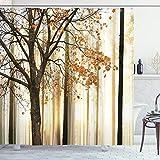 ABAKUHAUS Autunno Tenda da Doccia, Albero in Astratto Woods, Tessuto Set di Decorazioni per Il Bagno con Ganci, 175 x 200 cm, Arancione Marrone