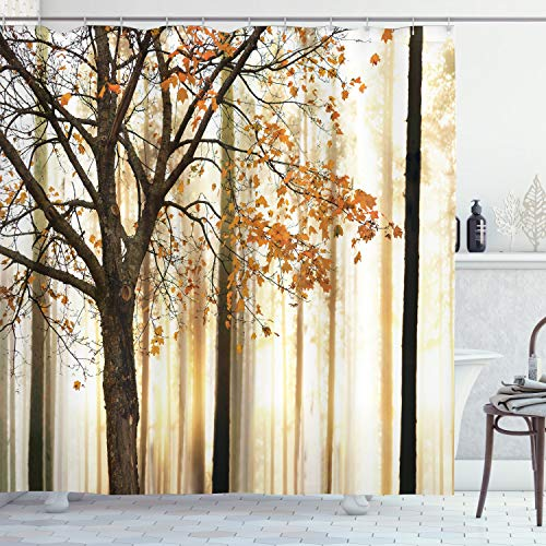 Ambesonne Autumn Shower Curtain, Picture of a Lonely Tree...
