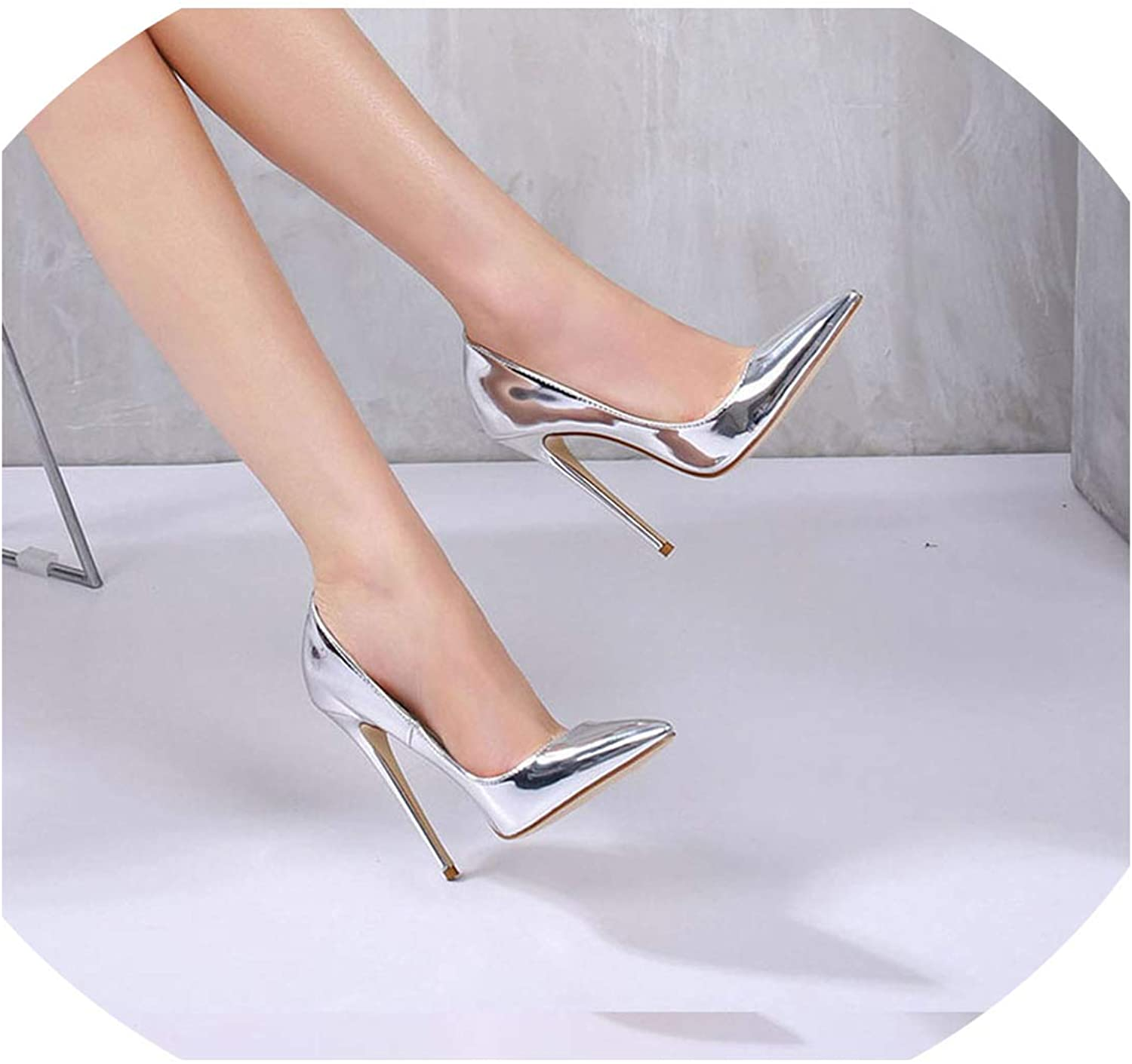 Axd-Home Women Pumps High Heels Silver Sexy High Heels shoes for Women Stilettos