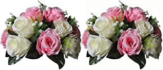 Nuptio Pcs of 2 Fake Flower Ball Arrangement Bouquet,15 Heads Plastic Roses with Base, Suitable for Our Store's Wedding Centerpiece Flower Rack for Parties Valentine's Day Home Décor (Pink & White)