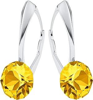 Ohrring Blume Stern Rauchquarz braun Zitrin gelb Sterling Silber 925