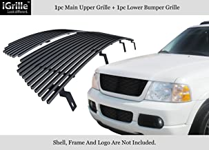 APS Compatible with 2002-2005 Ford Explorer Stainless Steel Black Billet Grille Combo F87989J