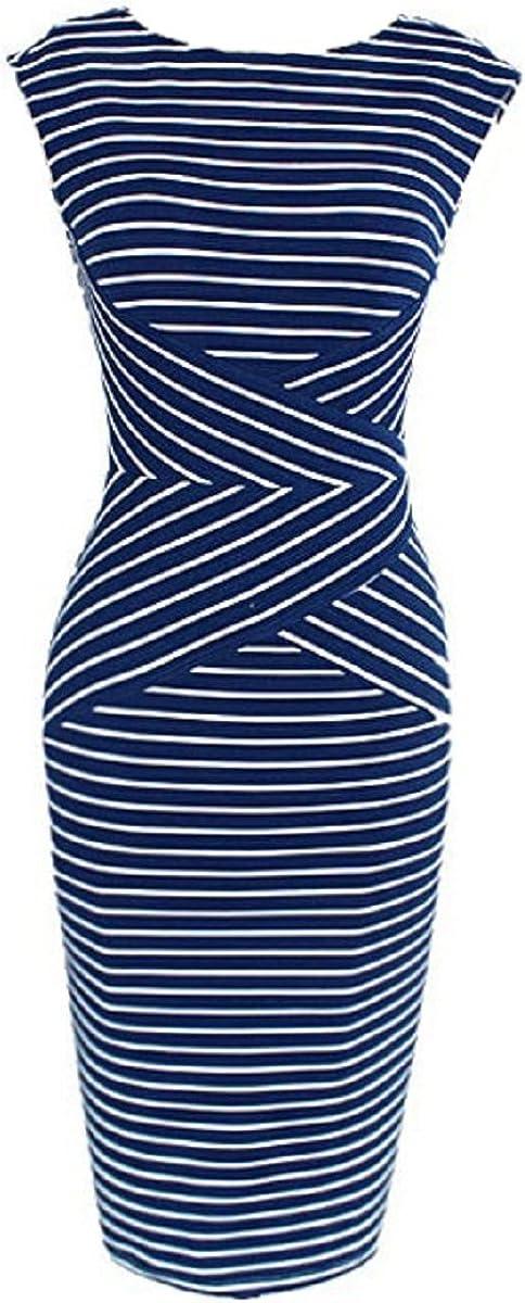 Hoyod Womens Striped Sleeveless OL Bodycon Pencil Dresses