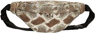 Ultramall Fashion Women Serpentine Zipper Messenger Bag Artificial Leather Chest Bag Waist Bag Phone Bag For Women