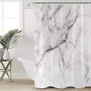 Beauty Decor Marble Shower Curtain Waterproof Polyester Fabric Shower Curtains Granite Surface Motif with Sketch Nature Effect and Cracks Print Decorative Bathroom Curtain with Hooks 36
