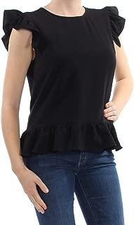 Maison Jules Women's Ruffled-Hem Flutter-Sleeve Top