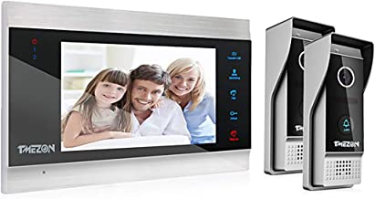 TMEZON Video Door Phone Doorbell Intercom System,Door Entry System with 7 Inch 1-Monitor 2-Camera,Touch Button, Night Visi...