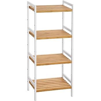 Songmics BCB74WN - Estantería de bambú para cocina, baño, libros, con 4 estantes, 45 x 31,5 x 110 cm, ideal para baño, cocina, salón, dormitorio, balcón, color blanco natural: Amazon.es: Hogar