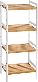 SONGMICS BCB74WN - Estante de bambú para Cocina, con 4 estantes, 45 x 31,5 x 110 cm, Ideal para baño, Cocina, salón, Dormitorio, balcón, Color Blanco Natural