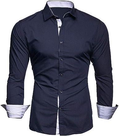 YFSLC-Studio Camisa De Manga Larga Hombre,Azul Oscuro, Camisa ...