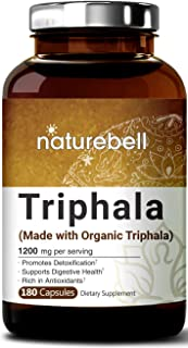 Maximum Strength Organic Triphala 1200mg, 180 Capsules, Powerfully Supports Digestive Health, Weight Loss, Fat Burn and Detoxification, No GMOs and Made in USA