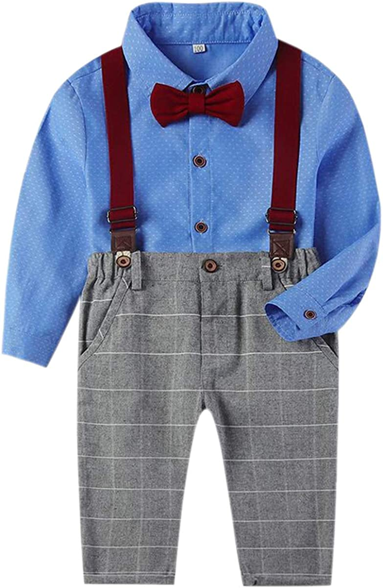 Ameyda Toddler Boy's Button Down Shirt & Suspenders Pants Cotton Outfit Set, 12 Months - 5 Years