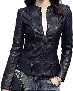 MogogoWomen Washed PU Faux Leather Stand Collar OL Skinny Jacket