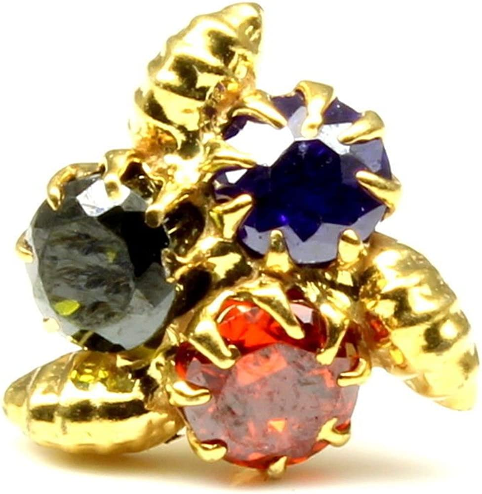 Karizma Jewels Ethnic Nose Stud, Multi-Color CZ Stone Nose Stud, Corkscrew Nose Piercing Ring