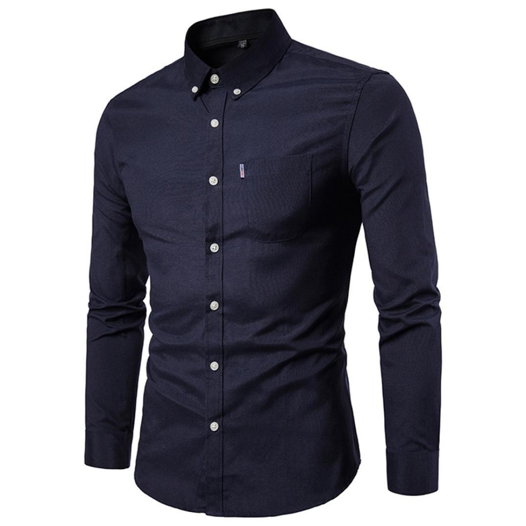 Camisas hombre El color puro de los hombres Oxford-hizo girar las camisas de manga larga del negocio,YanHoo® Mens Casual manga larga camisa negocio Slim Fit Camisas de blusa (Negro, XL): Amazon.es: Iluminación