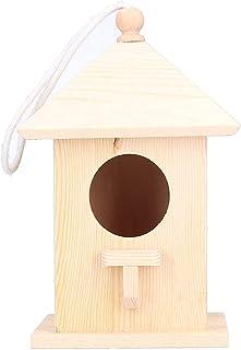 بيت الطيور الخشبي مستلزمات الحيوانات الأليفة المنزلية (اللون: لون الخشب الخشبي، الحجم: 7.9 × 4.7 × 4.7 بوصة)