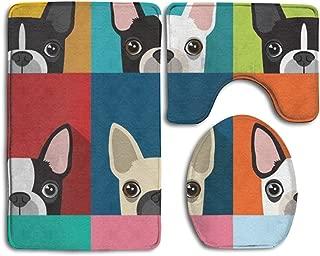 Cartoon Boston Terriers Bulldog 3 Piece Bathroom Mats Set Non-Slip Bathroom Rugs/Contour Mat/Toilet Cover