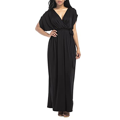 2e4f6798b3a8 Ladies V Neck Dress with Belt Simple Style Solid Color Floor Length Batwing  Short Sleeve Plain
