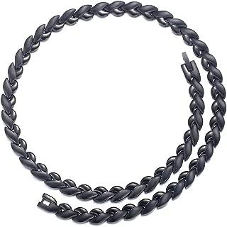 Men's Punk Black Titanium Steel 53PCS POWER Magnets Therapy Chain Necklace for Pain Neck Arthritis Headaches Relief Anti-fatigue