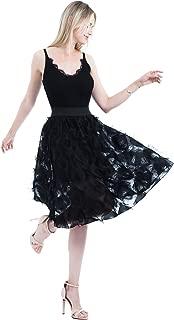 High Waist Women's Elastic Black White Feather Tassels Jacquard Tulle for Skirt