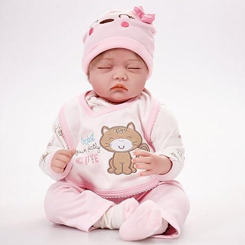 LIJUN Simulation Baby Rebirth Puppe 55 cm Geschlossene Augen Puppe Kinder Spielzeug Geschenk,55cm