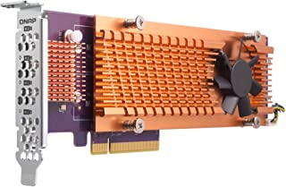Qnap 双 M.2 22110/2280 SATA SSD 扩展卡(PCIe Gen2 X 2),半高支架预安装,低调平和全高捆绑 PCIe Gen3x4, M.2?PCIe?SSD X 4,?PCIe Gen3 x8 host