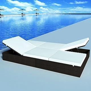 Benkeg Tumbona Doble Plegable con Cojín Ratán Sintético Marrón 194 X 120 X 31 Cm, Tumbona De Playa Tumbona Jardin Exterior Tumbona Jardin Exterior