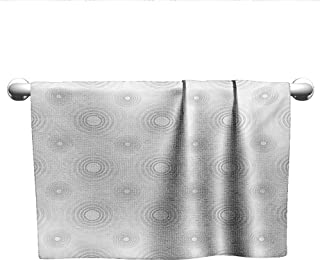 Personalized Hand Towels Grey,Spiral Contoured Diagonal Circular Small and Large Lines Gradient Sketchy Design Print,White,Towel bar for Glass Shower Door